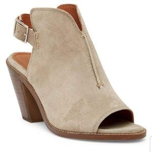 NEW Frye Courtney Suede Open Toe Ash Heel Sandal 9